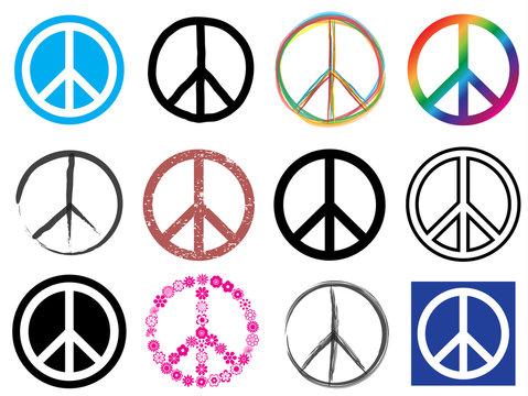 peace symbol icon set