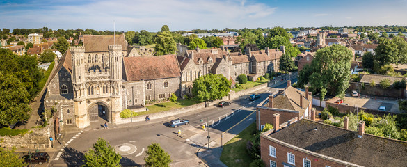Canterbury aerial view from drone in summer, Kent