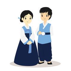 Korean traditional dress. Korean couple wearing Korean Hanbok vector illustration.