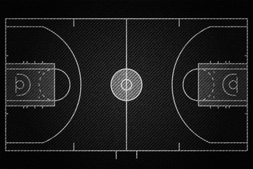 Realistic Black Denim texture of Baseketball court field element vector illustration design concept