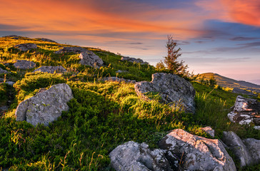 epic landscape in Carpathian high mountain ridge