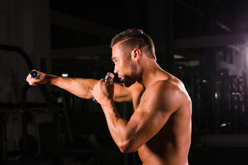Boxing concept. Boxer man during boxing exercise making direct hit with dumbbells