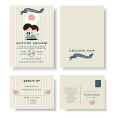 Set of the newlyweds ridding scooter logo on wedding Invitation Card.Vector/Illustration