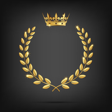 Vector golden laurel wreath with crown isolated on black background.