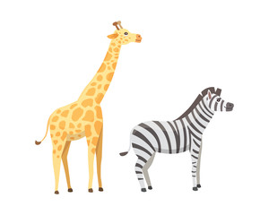 African animals cartoon vector set. giraffe, zebra, safari isolated illustration