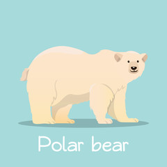 Cute Polar bear in sea ice illustration desian on sky blue background.vector