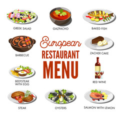 European restaurant menu with popular delicious dishes set