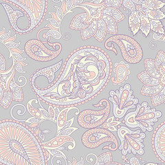 ethnic floral seamless pattern in asian textile style