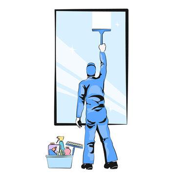 Window cleaner vector illustration