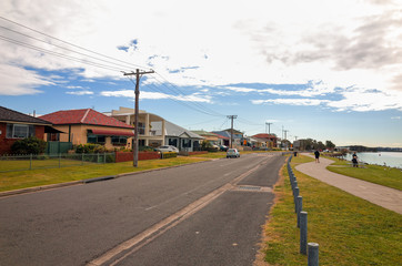 Swansea Australia Town Street with Houses and Apartment buildings