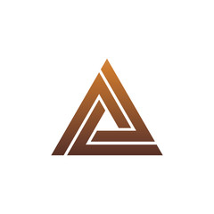 luxury letter A logo. triangle logo design concept template