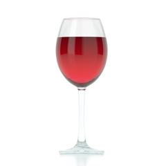 3d rendering isolated glass with red wine