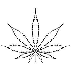 Cannabis (marijuana) leaf black color path icon .