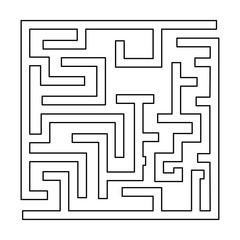 Labyrinth, maze conundrum black color path icon .
