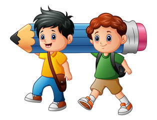 Two boy cartoon holding a large pencil