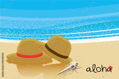 夏のイメージのイラスト砂浜と麦わら帽子fotoliacom の ストック画像