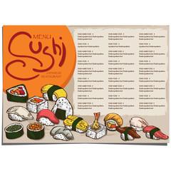 menu japanese food sushi restaurant template design hand drawing graphic.