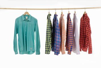 Set of men's different sleeved plaid cotton on hanger