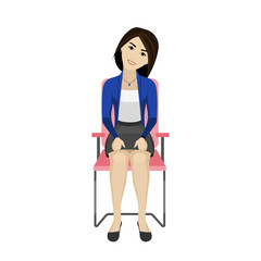Pretty Asian woman is doing exercise on the office chair. Business woman in healthy warm up pose.
