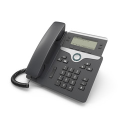 Black IP phone on a white. 3D illustration, clipping path