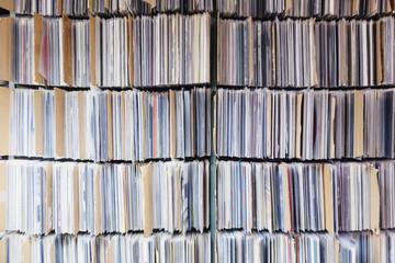 Full frame shot of records in shelves at office