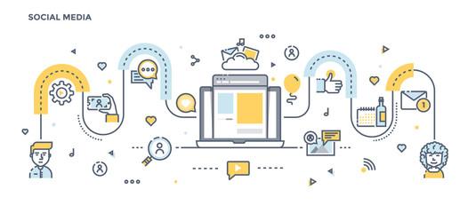 Flat Line Design Header - Social Media