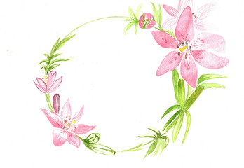 Watercolor frame for invitations, lily flower