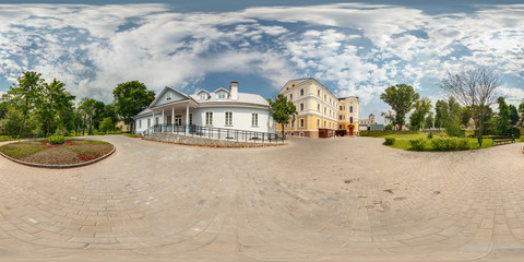 Full spherical 360 degrees seamless panorama in equirectangular equidistant projection, panorama in park of old city, VR content