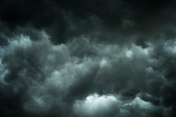Aluminium Prints Heaven Dark sky and black clouds before rainy, Dramatic black cloud and thunderstorm