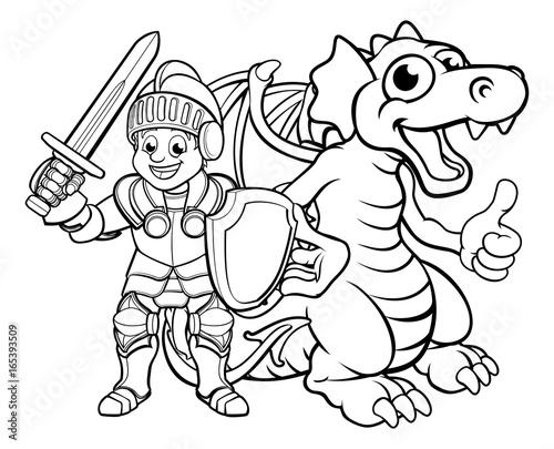 """cartoon dragon and knight"" stock image and royaltyfree"