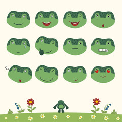 Emoticons set face of frog in cartoon style. Collection isolated heads of frog in different emotion and body on meadow with flowers.