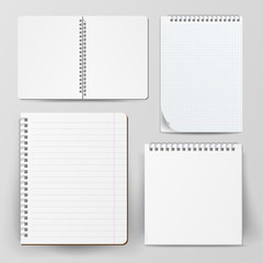 Notebook Set With Coil Spiral. Vector Spiral Notepad. Clean Mock Up For Your Design. Vector illustration
