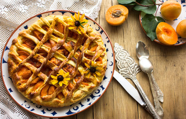 Rustic apricot tart pie galette with powdered sugar
