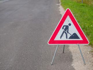 Baustelle Schild an einer Straße