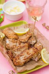 Fried fish Pescado frito with lemon mayonnaise