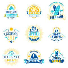 Set of summer sale promotional emblem design. Typographic retro style summer advertising badges for banner or poster. Blue and yellow color theme. Isolated on white. Vector illustration