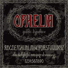 Vintage hand drawn alphabet. Handwritten font in gothic style. Vector illustration