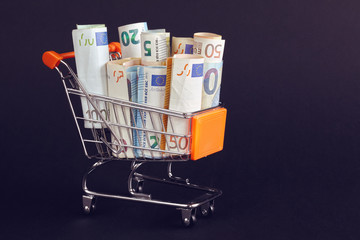 Shopping cart filled with Euro bill rolls, shallow depth of field, color toning applied.
