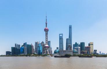 Wall Murals Shanghai Shanghai skyline panorama,landmarks of Shanghai with Huangpu river in China.