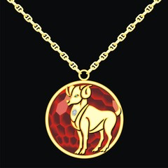 Ruby medallion on a chain with a capricorn