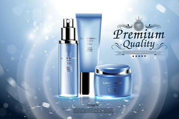 Luxury cosmetic Bottle package skin care cream, Beauty cosmetic product poster, with Bokeh background