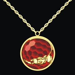 Ruby medallion on a chain with a panther