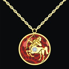 Ruby medallion on a chain with a sagittarius