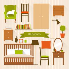 Vector furniture for bedroom. Flat design illustration