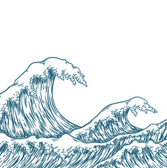 Hand drawn wave. Vector illustration