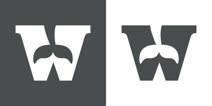 Icono plano W con cola ballena gris y blanco