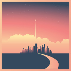 Modern corporate cityscape or skyline background with skyscrapers in sunset vector concept. Rocket or spaceship starting in background as symbol of future, mission, vision or startup.