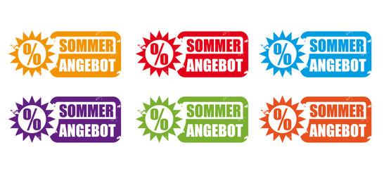 Sommer Angebot - verschiedenfarbige Stempel mit Sonnensymbol