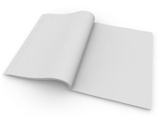 isolated white magazine 3d rendering