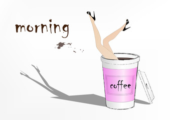 woman fell into the pink paper cup of coffee, fashion vector illustration, horizontal